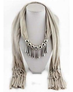 Waterdrops Design Alloy Pendants Women Scarf Necklace - Khaki