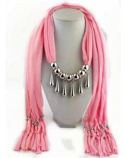 Waterdrops Design Alloy Pendants Women Scarf Necklace - Pink