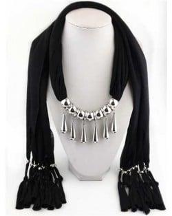 Waterdrops Design Alloy Pendants Women Scarf Necklace - Black