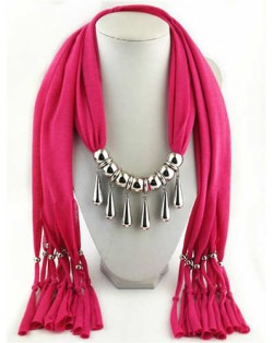 Waterdrops Design Alloy Pendants Women Scarf Necklace - Rose