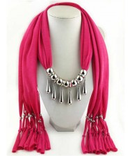 Waterdrops Design Alloy Pendants Women Scarf Necklace - Rose