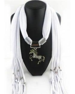 Horse Pendant Design Solid Color Women Scarf Necklace - White