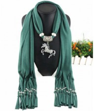 Horse Pendant Design Solid Color Women Scarf Necklace - Ink Green