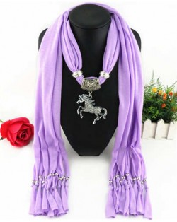 Horse Pendant Design Solid Color Women Scarf Necklace - Violet