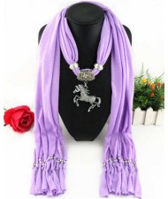 Horse Pendant Design Solid Color Women Scarf Necklace - Violet