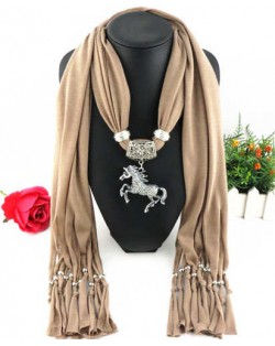 Horse Pendant Design Solid Color Women Scarf Necklace - Brown
