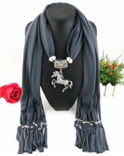 Horse Pendant Design Solid Color Women Scarf Necklace - Dark Gray