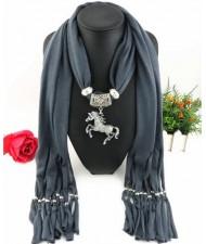 Horse Pendant Design Solid Color Women Scarf Necklace - Dark Gray