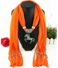 Horse Pendant Design Solid Color Women Scarf Necklace - Orange