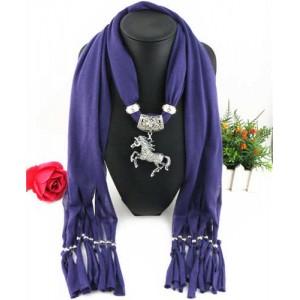 Horse Pendant Design Solid Color Women Scarf Necklace - Purple