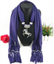 Horse Pendant Design Solid Color Women Scarf Necklace - Purple