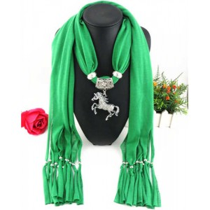 Horse Pendant Design Solid Color Women Scarf Necklace - Green