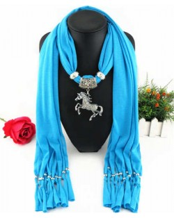 Horse Pendant Design Solid Color Women Scarf Necklace - Blue