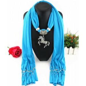 Horse Pendant Design Solid Color Women Scarf Necklace - Blue