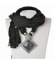 Butterfly Style Round Gem Pendant Women Scarf Necklace - Black