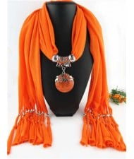 Butterfly Style Round Gem Pendant Women Scarf Necklace - Orange