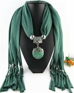 Butterfly Style Round Gem Pendant Women Scarf Necklace - Ink Green
