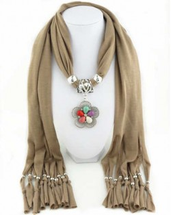 Artificial Turquoise Flower Pendant Solid Color Women Scarf Necklace - Brown