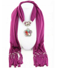 Artificial Turquoise Flower Pendant Solid Color Women Scarf Necklace - Fuchsia
