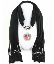 Artificial Turquoise Flower Pendant Solid Color Women Scarf Necklace - Black
