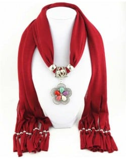 Artificial Turquoise Flower Pendant Solid Color Women Scarf Necklace - Red