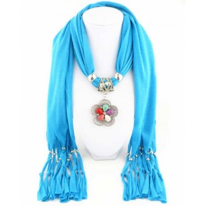 Artificial Turquoise Flower Pendant Solid Color Women Scarf Necklace - Blue