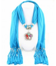 Artificial Turquoise Flower Pendant Solid Color Women Scarf Necklace - Blue