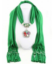 Artificial Turquoise Flower Pendant Solid Color Women Scarf Necklace - Green