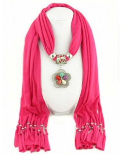 Artificial Turquoise Flower Pendant Solid Color Women Scarf Necklace - Rose