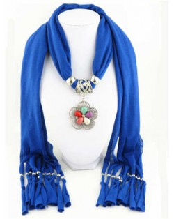 Artificial Turquoise Flower Pendant Solid Color Women Scarf Necklace - Royal Blue