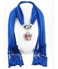 Artificial Turquoise Flower Pendant Solid Color Women Scarf Necklace - Royal Blue