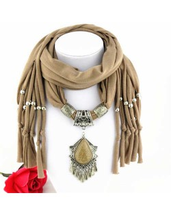 Folk Style Gem Embellished Waterdrop Pendant Design Women Scarf Necklace - Brown