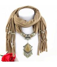 Folk Style Gem Embellished Waterdrop Pendant Design Women Scarf Necklace - Brown