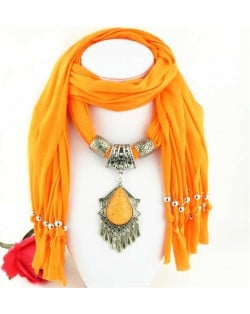 Folk Style Gem Embellished Waterdrop Pendant Design Women Scarf Necklace - Orange