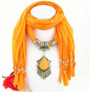 Folk Style Gem Embellished Waterdrop Pendant Design Women Scarf Necklace - Orange
