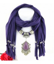 Folk Style Gem Embellished Waterdrop Pendant Design Women Scarf Necklace - Purple