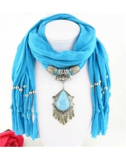 Folk Style Gem Embellished Waterdrop Pendant Design Women Scarf Necklace - Blue