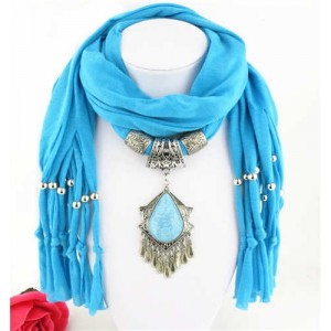 Folk Style Gem Embellished Waterdrop Pendant Design Women Scarf Necklace - Blue