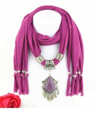 Folk Style Gem Embellished Waterdrop Pendant Design Women Scarf Necklace - Fuchsia