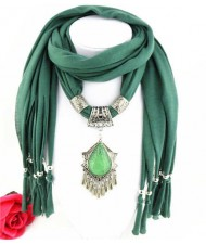 Folk Style Gem Embellished Waterdrop Pendant Design Women Scarf Necklace - Ink Green