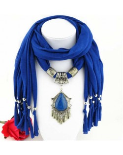 Folk Style Gem Embellished Waterdrop Pendant Design Women Scarf Necklace - Royal Blue