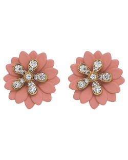Rhinestone Embellished Daisy Design High Fashion Women Earrings - Pink