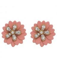 Rhinestone Embellished Daisy Design High Fashion Women Earrings - Pink