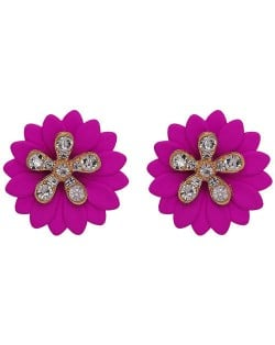 Rhinestone Embellished Daisy Design High Fashion Women Earrings - Fuchsia
