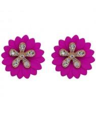 Rhinestone Embellished Daisy Design High Fashion Women Earrings - Fuchsia