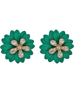 Rhinestone Embellished Daisy Design High Fashion Women Earrings - Green