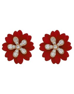 Rhinestone Embellished Daisy Design High Fashion Women Earrings - Red