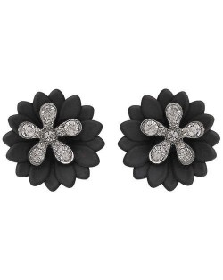 Rhinestone Embellished Daisy Design High Fashion Women Earrings - Black