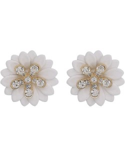 Rhinestone Embellished Daisy Design High Fashion Women Earrings - White