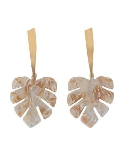 Acrylic Palm Leaves Design Women Fashion Statement Earrings - White